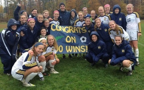Women's soccer coach Mike Webber honored with 100th win
