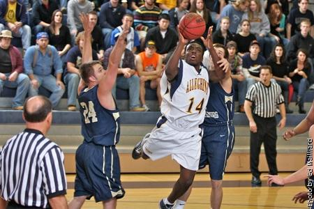 Devone McLeod, '12, scored 16 points in last week's 75-67 loss to Frostburg State. The Gators kicked off their NCAC season with an 83-71 victory against Oberlin last night and face Wittenberg Saturday at home. Photo courtesy of Ed Mailliard/alleghenysports.com