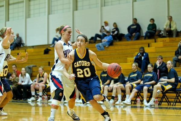 Jill Gregory, 11, is averaging 15.2 points per game this season and will lead the high-octane Gator offense Saturday against OWU. Photo Courtesy of Ryan Baker/Allegheny Sports Information