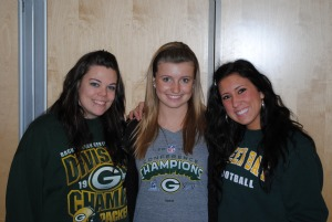 Jodi Apps, '12, Bethany Walker, '13, and Alicia  Seggelink, '12, are all Wisconsin natives cheering for Green Bay on Sunday. Photo by Charlie Magovern/The Campus