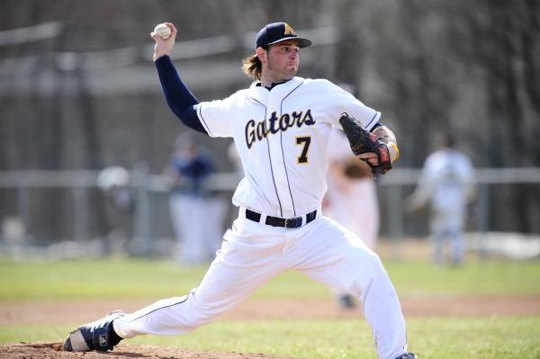 Mike Pereslucha, '11, tossed seven scoreless innings in the team's opening victory over Penn State-Abington. Photo courtesy of Sports Information