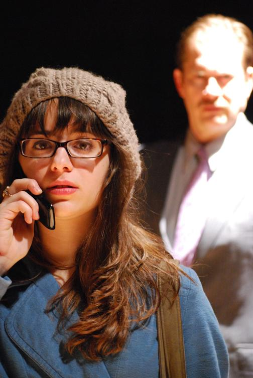Lauren Farruggia (as Jean) and Mitch Micosky (as Gordon) in the Meadville Community Theatre's production of Dead Man's Cell Phone.  The show runs March 25, 26, April 1, 2, 7 & 8 at 8:15pm and April 3 at 2:15pm.