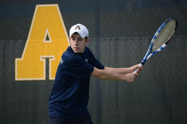Patrick Cole, '14, has climbed the tennis ladder from fourth to first singles and was named NCAC Player of the Week following his hot start to the spring season. Photo by Charlie Magovern/The Campus