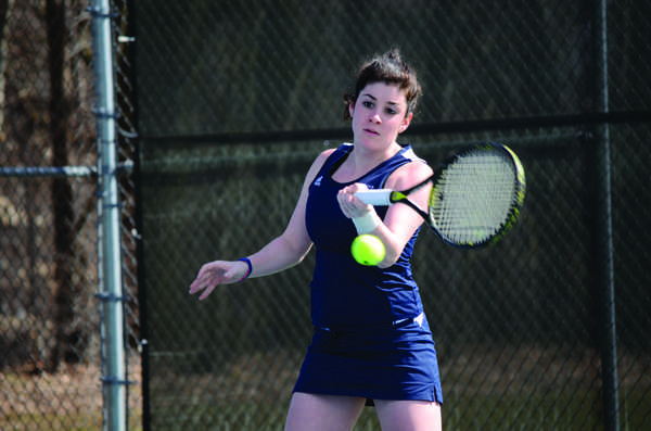 Deb Landau, '12, is 4-1 in singles since her return from a wrist injury suffered a week before the spring season began. Photo by Charlie Magovern/The Campus