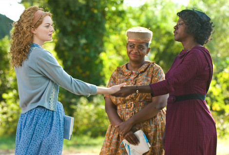 """Emma Stone, left, stars with Octavia Spencer, middle, and Viola Davis, right, in this film adaptation of Kathryn Stockett's novel, """"The Help."""""""
