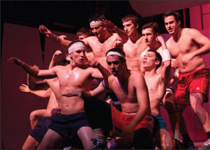 The men's soccer team also took the shirtless route in their dance routine, but their efforts would not be enough to top track and field. CODY MILLER/ THE CAMPUS