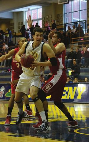 Senior James Ness scored 12 points in Saturday's matchup, shooting 5-15 from the floor. AJ CROFFORD/THE CAMPUS