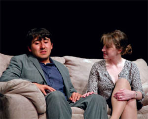 Leo Leon, '13, and Courtney Rice, '12, perform in the student-written and directed