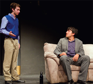 Sam Moritz (left) and Leo Leonel (right) played James Van Handen and John Horner, two friends who get caught up in a scheme to fake the death of Horner's wife for sexual gain. CODY MILLER/THE CAMPUS