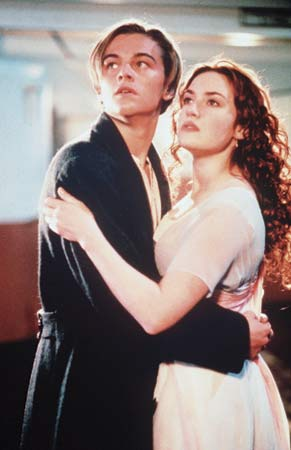 Leonardo DiCaprio and Kate Winslet star as the famous pair of ill-fated lovers in James Cameron's Titanic, originally released in 1997 and re-released in 3-D at the end of this month. http://200movies1woman.com
