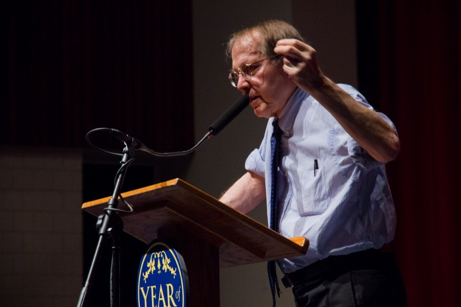 CODY MILLER/THE CAMPUS Acclaimed writer and education activist Jonathan Kozol speaks on the trials facing education in low-income communities on Oct. 17, 2012.