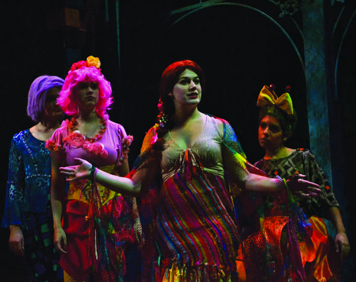 "Colleen McCaughey, '13, enters the stage as Titania, Queen of the Fairies with her train in Allegheny's production of ""A Midsummer Night's Dream."" CARLY LUITGAARDEN/THE CAMPUS"