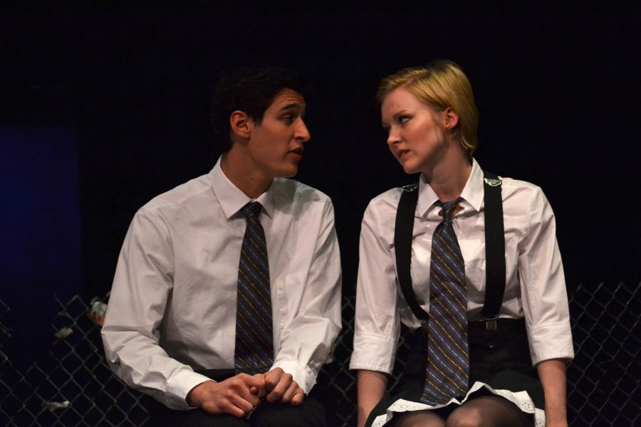 Janos Cseh, '15, and Jessica Pierson Turner, '14, rehearse for Spring Awakening on Monday, Nov. 26.