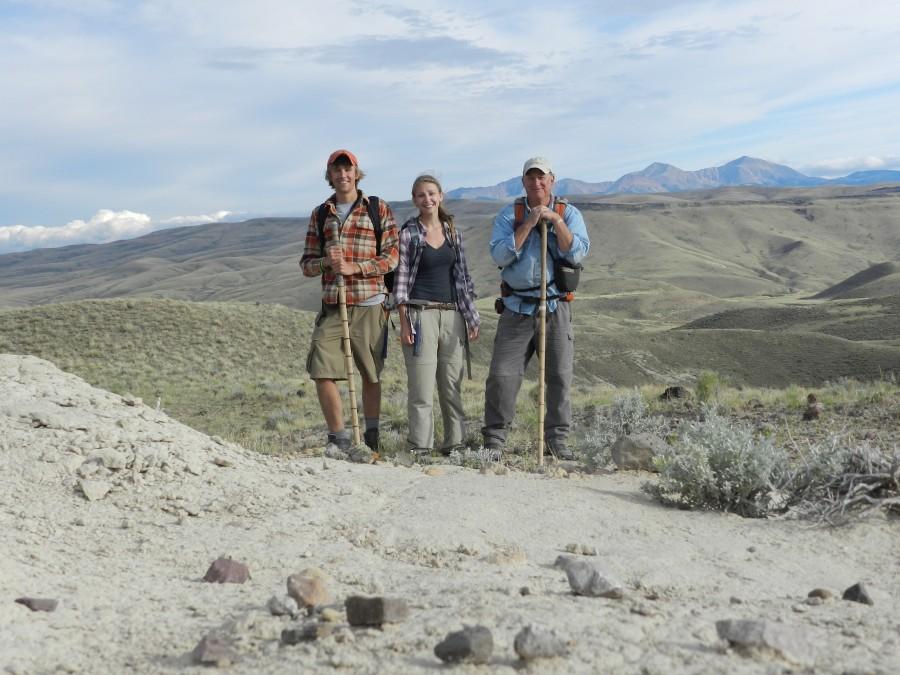 Doug Barber, 13, Lauren Schricker, 14, and Professor Bob Schwartz during their trip to Montana. Photo courtesy of Doug Barber.