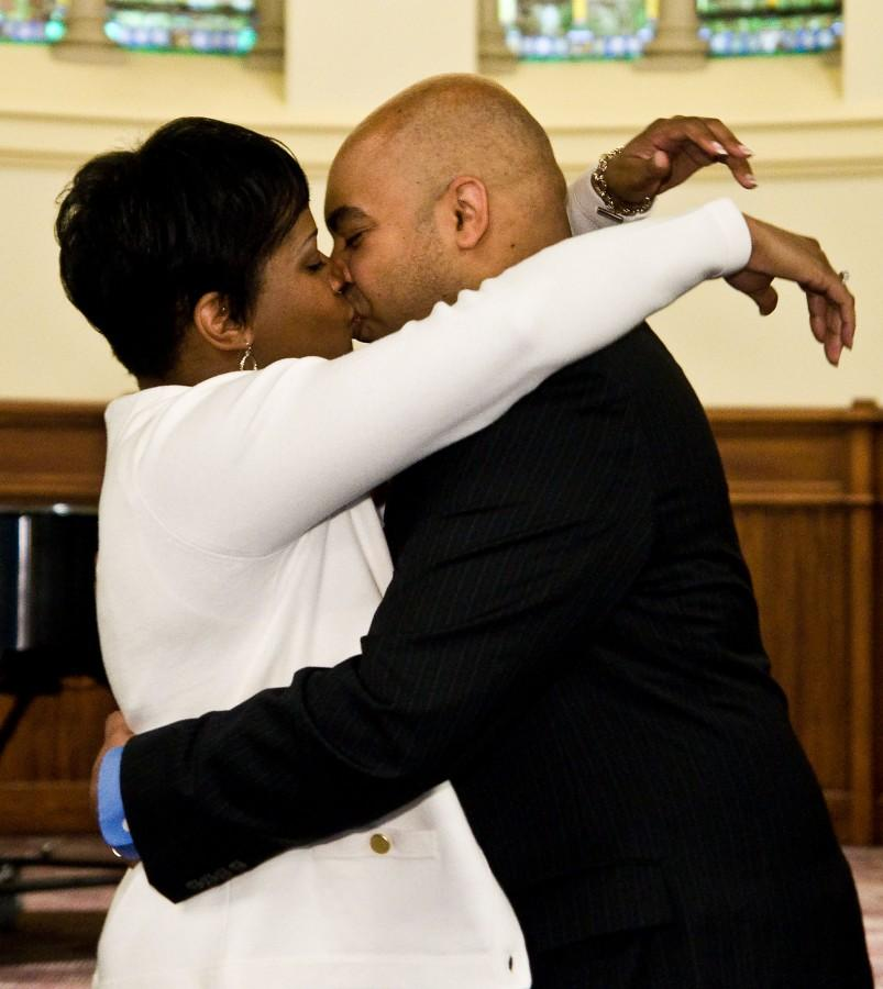Brain and Sonya share their first kiss as husband and wife on Feb. 14, 2013.