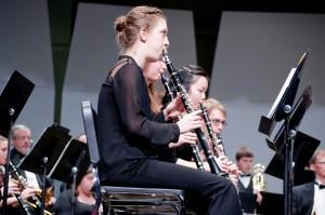 Melanie Smith 14' playing clarinet in the Allegheny Wind Symphony