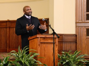 "Dean of undergraduate studies at Dartmouth College, Paul Buckley, gave a keynote address titled ""Civil Rights and Its Challenge to Higher Education"" at Ford Chapel, on Jan. 20, 2013 as part of Allegheny's celebration of Martin Luther King Day."