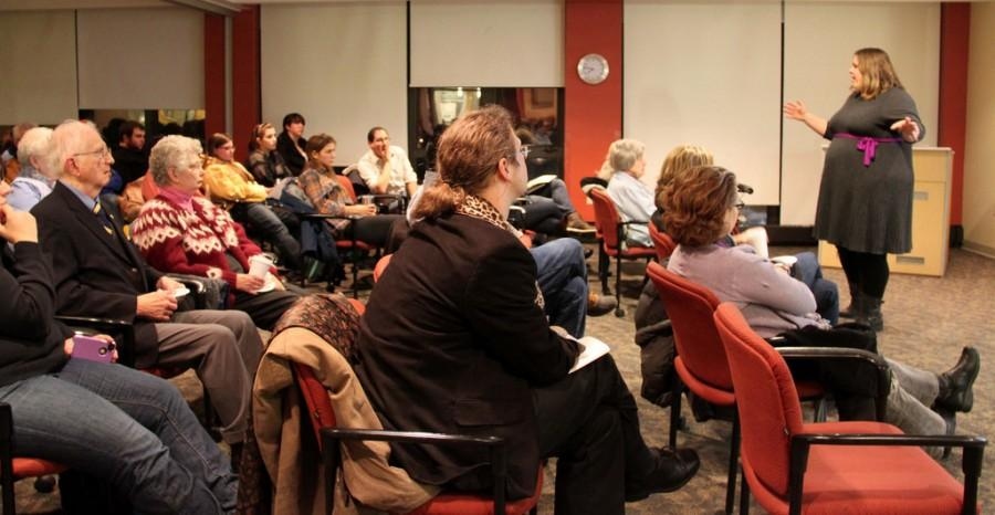 A big audience gathered to see Jacqueline Gehring, politcal science professor, speak about her research on Jan 31. MEGHAN HAYMAN/THE CAMPUS