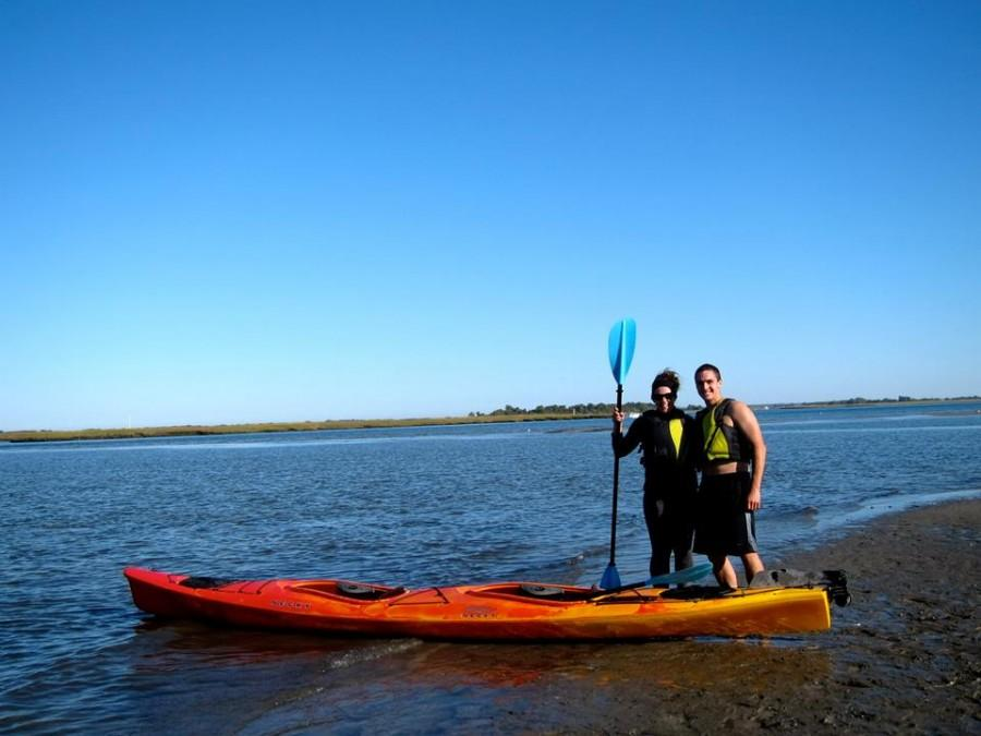 PHOTO COURTESY OF LAUREN WIND Wind, '15, with Nick Uline, kayaks around Plum Island Environmental Reserve as part of the Woods Hole Semester in Environmental Science.