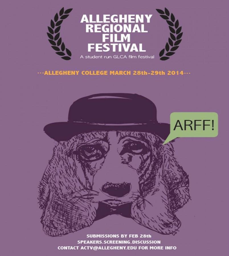 CAITIE McMEKIN/THE CAMPUS Allegheny Regional Film Festival plays off of the acronym ARFF and uses a dog as their mascot.  This year's dog was drawn by Brennan Maine '14, a studio art major, who is also working on the ARFF comittee.