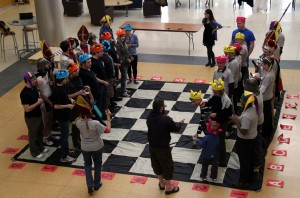 MEGHAN HAYMAN/THE CAMPUS Faculty and students are dressed and armed to begin the first human chess event of the semester on Feb. 22.