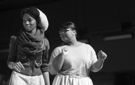 CAITIE McMEKIN/THE CAMPUS Maya Jones, '14, and Autumn Parker, '15, rehearse for Playshop's Wedding Band, a performance contributing to Allegheny's Year of Civil Rights.