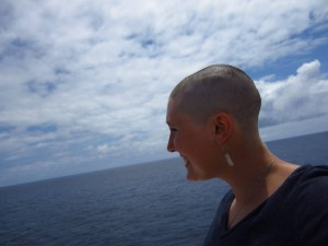 COURTESY OF REBECCA DILLA Semester at Sea has a tradition that as the ship crosses the equator, the passengers (students) shave their heads and celebrate. Rebecca Dilla, '15, chose to shave her head and take part in tradition.