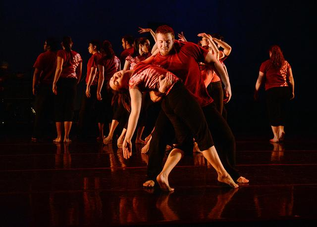 AMASA SMITH/THE CAMPUS Keith Shawley, '17, dips Anna Zedar, '14, in a piece at the dance and movement studies spring concert.