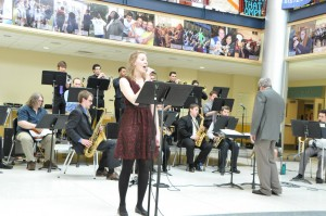 ELLIOTT BARTELS/THE CAMPUS Breana Gallagher, '15, was the featured vocalist at the Jazz Band spring concert on Sunday, April 13 at 3:15 p.m. in the Campus Center lobby.