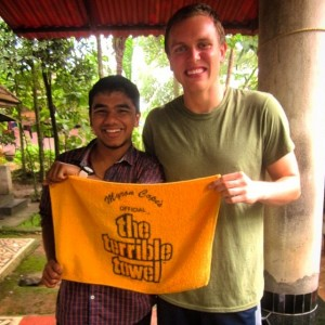 PHOTOS COURTESY OF GARRETT DEVENNEY Garrett Devenney, '16, and his roommate Sarath, an 18-year-old Indian college student, did a cultural exchange during which Devenney gave Sarath one of Pittsburgh's famous Terrible Towels.
