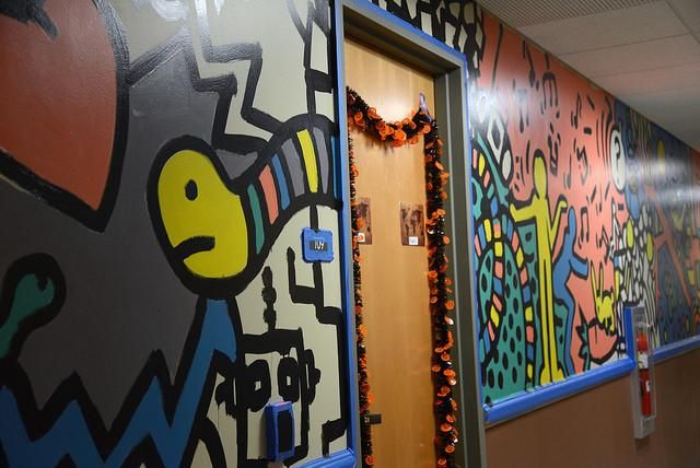 The first painting session of the mural took place over Homecoming weekend. Students are invited to come on Sunday Nov. 2 to finish the painting. As it is family weekend, the Resident Life staff welcomes students to bring their family and friends to paint as well.