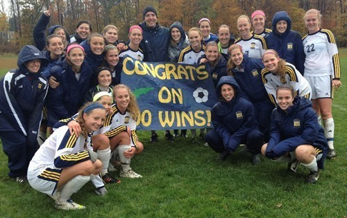 The women's soccer team beat Ohio Wesleyan University on Oct. 18 and earned coach Mike Webber the honor  of a 100th career victory.