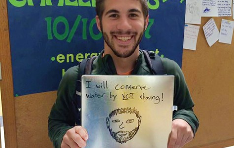 Owen Ludwig, '18, has decided to conserve water by not shaving through the month of October. Kelly Boulton, the sustainability coordinator at Allegheny College, organized the photographing of students and their plans to conserve energy throughout the challenge.