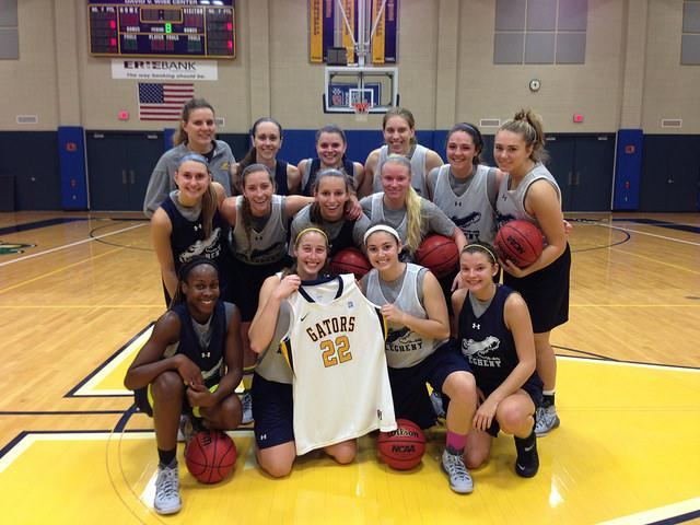 The Allegheny women's basketball sent a #22 jersey to Lauren Hill to be auctioned for donation to cancer research. The Gator jersey was sold for $250.