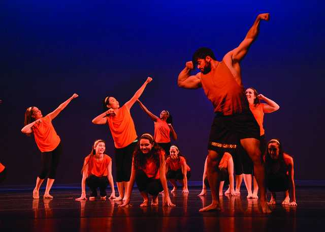 """Mark Seraly, '15, dances as Hercules in """"Zero Hero"""" from the Disney motion picture, Hercules, choreographed by Sara Townsend, '17. Orchesis has two more shows this weekend, Friday, Nov. 7 and Saturday, Nov. 8 at 8 p.m. in Shafer Auditorium."""