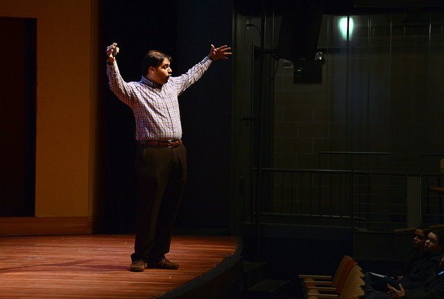Dr. Wasif Syed, the founder and chief executive officer of Ivy League Advisor, spoke to students about personal development and reaching their academic and life goals at the Gladys Mullenix Black Theatre on Tuesday, Oct. 18.