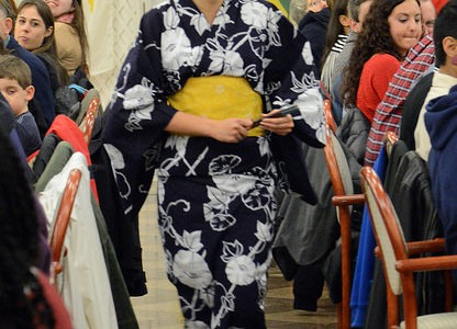 Risa Kondo, '18, wore a traditional Japanese yukata, representing one of five countries in the fashion show during the International Dinner on Nov. 23.