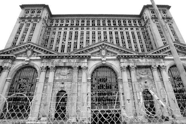 Detroit's central station sent out its last train in 1988. Abandoned, the windows are almost all broken and the building is enclosed with a metal fence and barbed wire. The central station has become an accurate representation of the property quality degrading in Detroit.