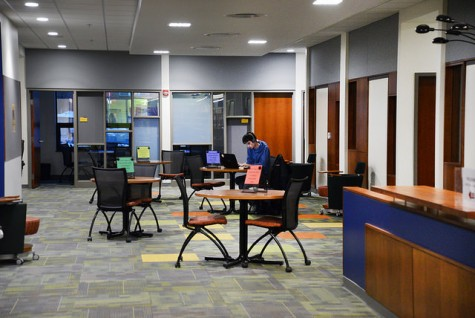 Previously housing the circulation desk and media services, the renovations added additional student space on the main floor of Pelletier.