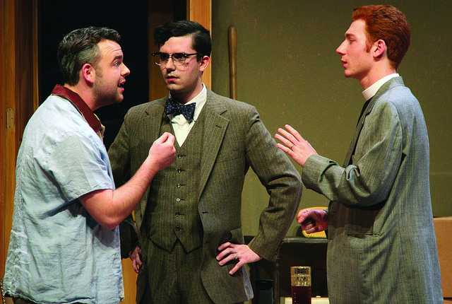 "A.J. Long, '15, Chris Schuchert, '15, and Sean McClain, '18,  argue during the first act of the play, ""Clybourne Park,"" which opens this weekend."