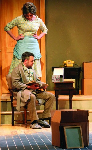 "Christine McGrath, '17, and A.J. Long, '15, play wife and husband in the Allegheny's Playshop Theater spring debut of Bruce Norris' ""Clybourne Park."" The characters are in the middle of moving from their home to one closer to his new job."