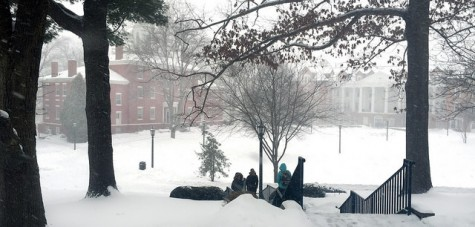 Students make their way across campus, walking through unplowed pathways on Jan. 29, days before Winter Storm Linus hit Meadville.