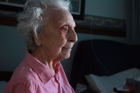 Aurelia Brunot, 104, stares into the distance at the Crawford County Care Center.