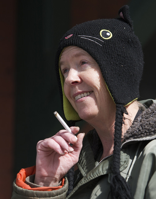 Market House Grille cook Deb Albright takes a break to smoke a cigarette during a slower moment after the lunch rush at the restaurant. Photo by Andy Colwell..Since 2009, Meadville resident Cindy Thompson has operated the Market House Grill in downtown Meadville. As most of its regulars agree, there are few places like it in Meadville or anywhere nearby. Thompson's staff of mostly women do their best to make the establishment a gathering place with good, home-made food and friendly faces.