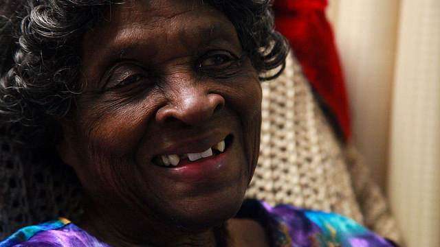 Essie Williams, 89, smiles for the camera at the Crawford County care center.