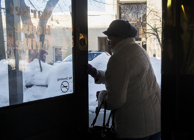 Union Township resident Judy Shumaker leaves the Market House Grille after breakfast on March 6. Photo by Andy Colwell