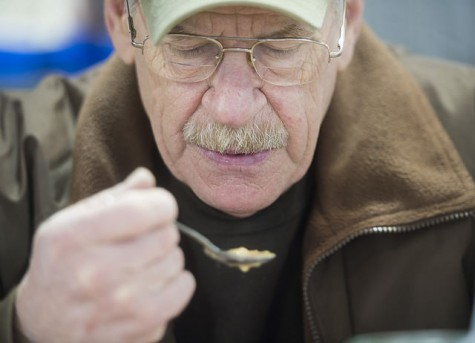 Ron Oswald of Meadville sips soup at the Market House Grille. Photo by Julia Moss.