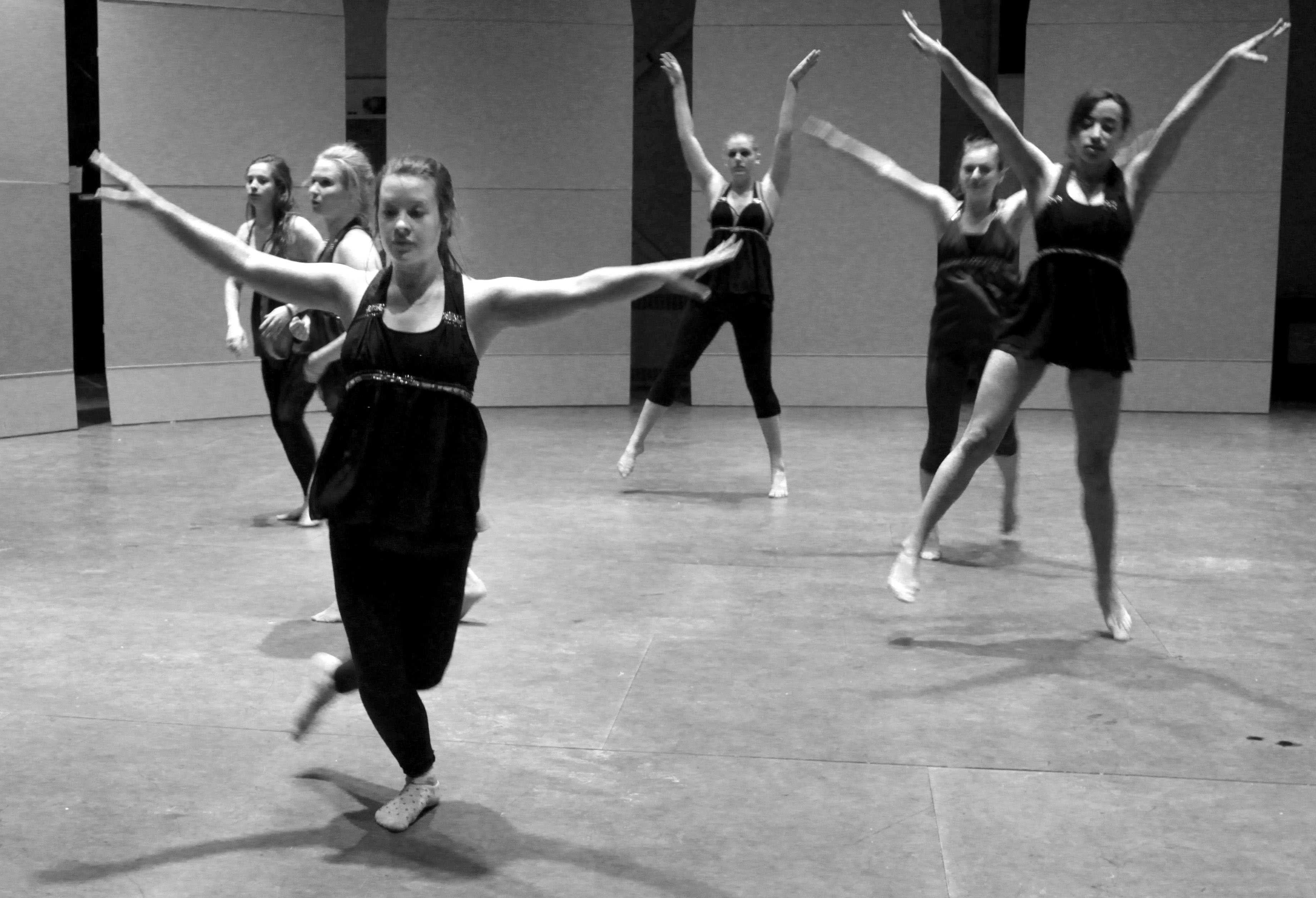 JaDE performers practice their dance for the benefit concert this Saturday March 28 at 7 p.m. in Shafer Auditorium. It is the 8th annual concert benefiting  the Crawford County Special Olympics.