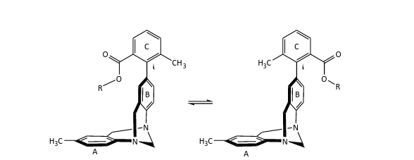 The molecule on the left depicts the folded conformation, which is sometimes lower energetically. The R-group interacts with the pi system above the ring labeled A.