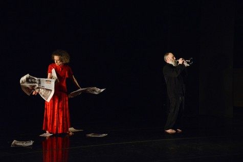 """Eleanor Weisman, left, and Jay Hanes perform in a piece entitled, """"Compress, Impulse, Express."""" The pair choreographed and performed their piece to music played by Hanes."""